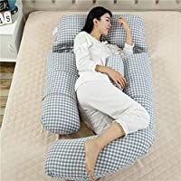 AFQHJ Cotton maternity pillow G-type cotton pillow, multi-function stomach support waist side sleeping pillow (80cm × 175cm × 25cm) (Color : A)