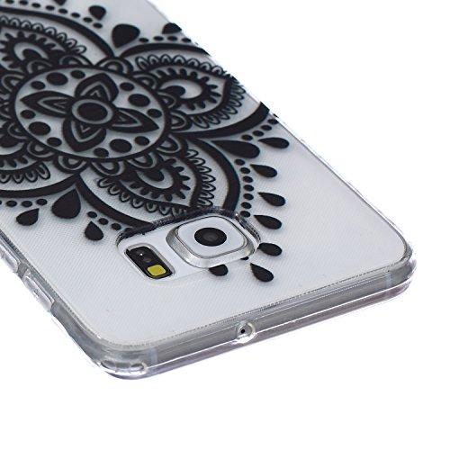 Ekakashop Coque pour Samsung Galaxy S6 Edge Plus, Ultra Slim-Fit Flexible Souple Housse Etui Back Case Cas en Silicone pour Galaxy S6 Edge Plus, Soft Cristal Clair TPU Gel imprimée Couverture Bumper d Noir noeud chinois