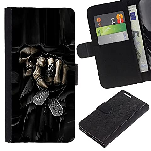 Lead-Star (Death Grim Reaper Skull Evil) Colorful Printing Holster Leather Wallet Case Pouch Skin Case Cover With Slots&pocket For Apple (5.5 inches!!!) iPhone 6+