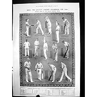 La Stampa Antica del Cricket della Contea di Kent Sostiene