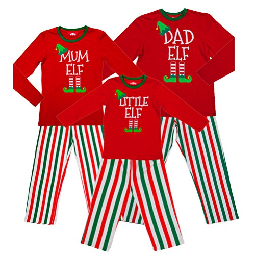 Mum Elf Ladies Christmas Red Elf Pyjamas PJs - Medium UK 12-14