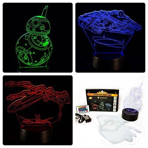 NINE Lighting Star Wars 3D Illusion Nachtlicht Lampe 3er-Pack mit Fernbedienung und 16 Farben für Kinder oder ()