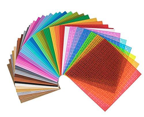 Piastre Premium Rainbow Colored impilabile Base - 36 Confezione 25,5 centimetri x 25,5 centimetri Baseplate Bundle - Compatibile con tutte le