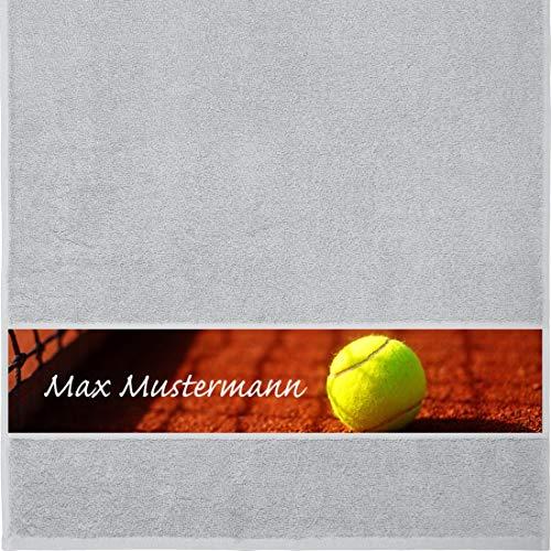 Manutextur Handtuch mit Namen - personalisiert - Motiv Sport - Tennis - viele Farben & Motive - Dusch-Handtuch - hellgrau - Größe 50x100 cm - persönliches Geschenk mit Wunsch-Motiv und Wunsch-Name -