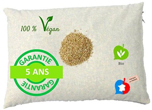 La Cocarde Verte Oreiller Millet Bio - Oreiller Ergonomique pour la Nuque Coton Bio et Balles Végétales Bio - Fabrication française Garantie 5 Ans - Écru Naturel