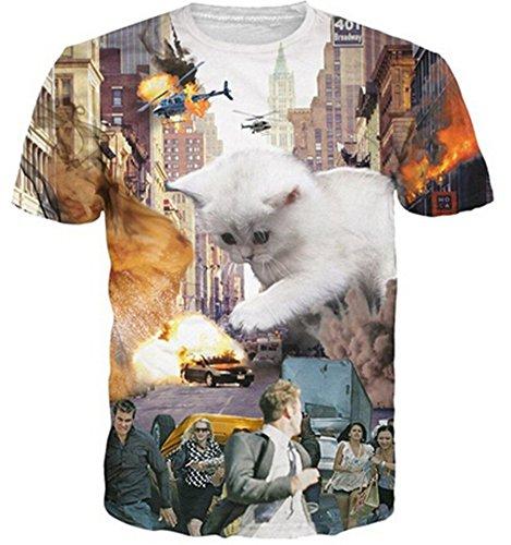 HWHColor Katze retten Stadt-T-Shirt Kühles Grafik-T-Shirt für Juniors
