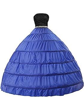 Edith qi Enagua 6 Aros, largo Miriñaque, Petticoats Crinolina Boda, Aros ajustable, Multicolor-Blanco, Negro,...