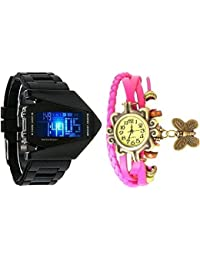 Crispy™ Analog And Digital Sport Watch Multicolor Dial For Men's And Women's Watch (Pack Of 2)