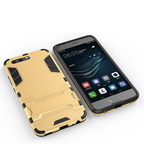 Per Huawei P10 Caso 2 In 1 TPU + PC Doppio Strato Protettivo Defender Ibrido Armatura Ammortizzatore Copertura posteriore paraurti con supporto [Shockproof] ( Color : Blue ) Gold