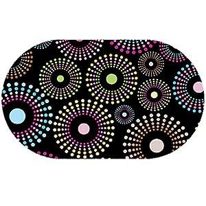 DecoHomeTextil Wachstuch Wachstischdecke Tischdecke Gartentischdecke Bunte Punkte Schwarz Oval ca. 140 x 200 cm abwaschbar