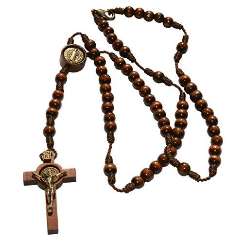 Benediktus Rosenkranz Holz Perle braun 5mm geknüpft, mit Benediktusmedaille, Verschluss, Holzkreuz mit Metallkorpus, 37cm