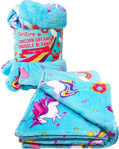 Regalos para Niñas - Manta de Felpa de Forro Polar, Azul - Manta Polar Niña Unicornio - Ideal Decoración, Coche, Siesta