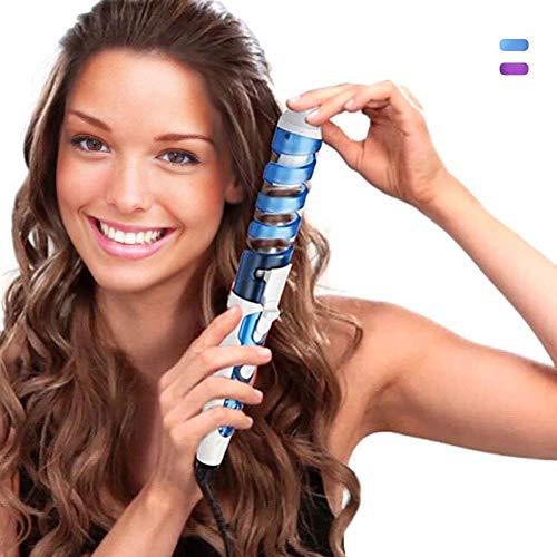 Hclestore bigodino di capelli portatile professionale arricciacapelli a spirale arricciacapelli in ceramica arricciacapelli curling wave maker (blu)
