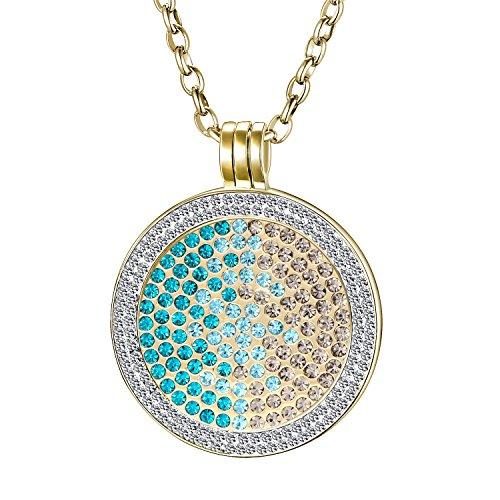Morella Damen Halskette gold 70 cm Edelstahl und Zirkonia Anhänger mit Coin Zirkoniasteine grün-blau-silber 33 mm im Schmuckbeutel