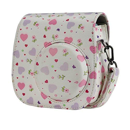 Anter Tasche für Fujifilm Instax Mini 8 8+/Mini 9 Sofortbildkamera aus Weichem Kunstleder mit Schulterriemen und Tasche - Sweet Heart (Polaroid Rosa Kamera)