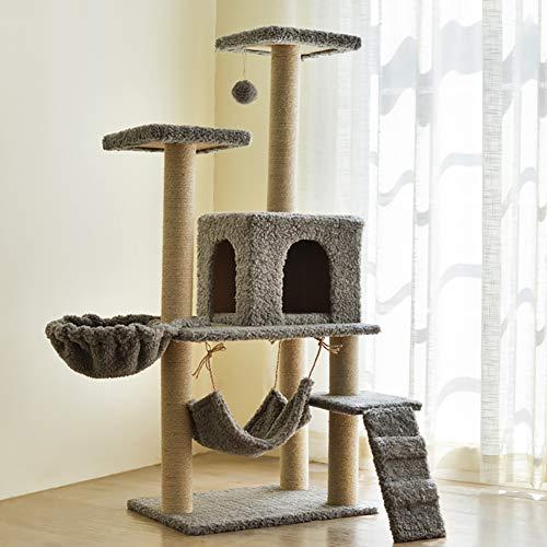 ZISITA Kratzbaum Grosse Katzen Stabil Cat Klettergerüst Katze Kratzbaum Scratcher Pole Möbel Gym-Haus-Spielzeug Cat Jumping-Plattform,Greysheep