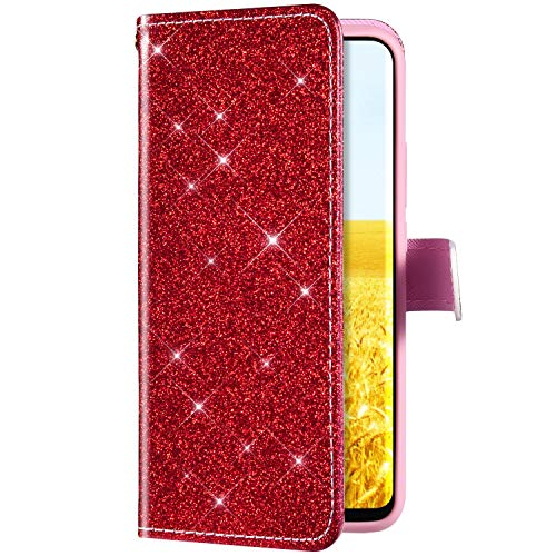 Uposao Kompatibel mit Huawei Y9 2018 Handyhülle Leder Tasche Luxus Glitzer Diamant Bling Glänzend Muster Wallet Bookstyle Schutzhülle Hülle Flip Case Brieftasche Klapphülle Ständer,Rot