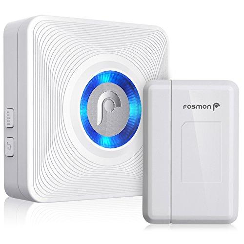 Fosmon Kabellose magnetische Funk Melder [Alarmanlage Sensor für Tür, Fenster] Ladenglocke, Türalarm innen [Wireless] [Hausklingel, Tür Klingel [120 m Reichweite][1 Empfänger & 1 Sender]52 Klingeltöne, 4 Lautstärkestufen [+eingebaute LED Anzeige für Hörgeschädigte]
