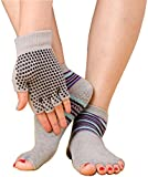 Eggsnow Toeless Breathable Yoga Socks and Gloves Set, Non Slip Grip with White Silicone Dots