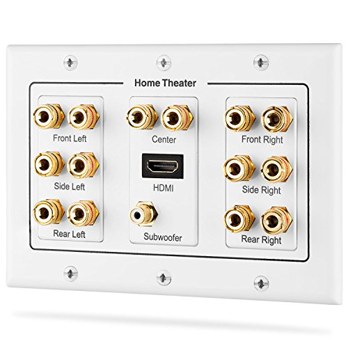 Fosmon [3-Gang 7.1 Surround Sound] Heimkino-Wandplatten Vergoldet Kupfer-Banane Bindung Pfosten Coupler Typ Wandplatte für 7 Lautsprecher und 1 RCA Buchse für Subwoofer & 1 HDMI Ports (Weiß) Gang 4-port-wall Plate