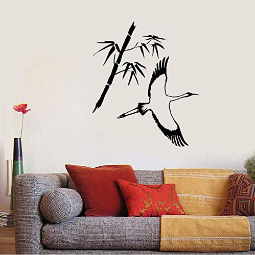 Hkkhkk Heron Japanese Style Bird Bamboo Branch Vinyl Wall Decal Stickers Decorative Pattern Home Decor Living Room Art Mural 69X58Cm