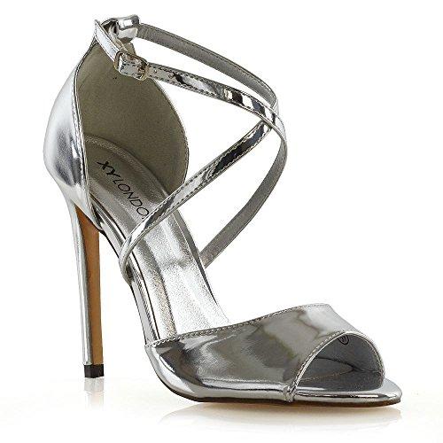 ESSEX GLAM Donna Cinturino alla Caviglia Peep Toe Sandali Le Signore Tacco a Spillo Festa Scarpe (40 EU, Argento Metallizzato)