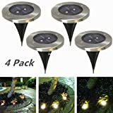 4 Packs 2 LED Solar Lawn Light, Outdoor Water-Resistant Ground Lighting for Garden, Yard, Porch, Patio, or Driveway(Warm White)