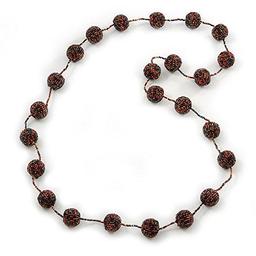 Lang, Glaskugel, Halskette (Schwarz/Gelb/Koralle/Amber) - Länge 120 cm
