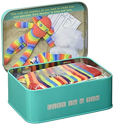 Brand New Sock Monkey in a tin gift by Apples to Pears