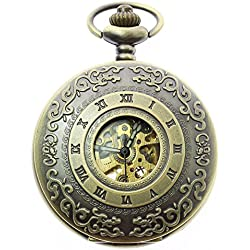 itemstoday Half Hunter Engraved Roman Numerals Hollow Case Automatic Movement Pocket Watch Box