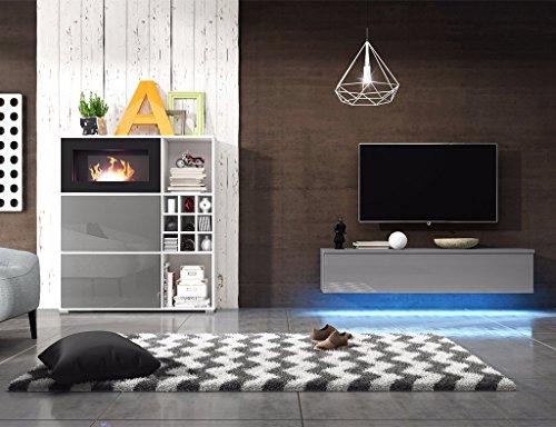 Wohnwand MIT BIOKAMIN Lowboard TV Schrank Sideboard Wohnzimmer Set FREYA (Weiß Matt / Grau Hochglanz)