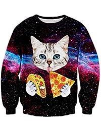 Uideazone Männer Frauen Mode hässlich Weihnachten Shirt Galaxy Pizza Katze Sweatshirt Pullover,Asia M= EU S