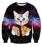Uideazone Männer Frauen Mode hässlich Weihnachten Shirt Galaxy Pizza Katze Sweatshirt Pullover,Asia XXL= EU XL