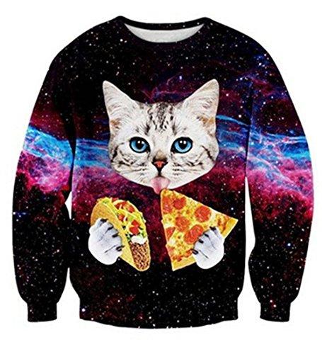 Uideazone Männer Frauen Mode hässlich Weihnachten Shirt Galaxy Pizza Katze Sweatshirt Pullover,Asia L= EU M