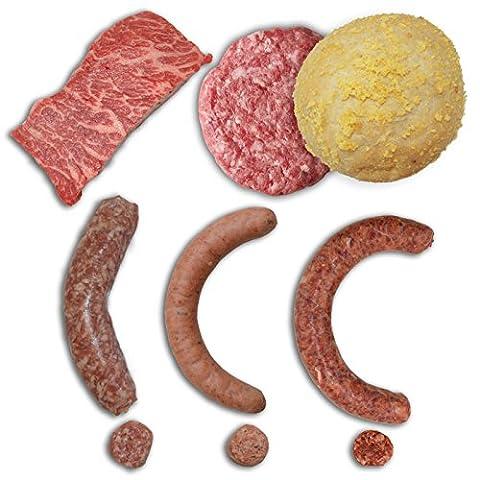 Mixed Grillpaket deluxe - Wagyu Burger, Wagyu Top Butt Flap, Ibérico / Livar / American Black Angus Bratwurst
