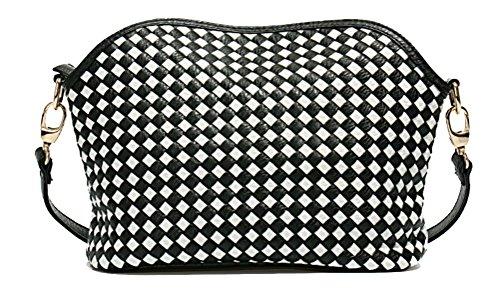 Yan Show Frauen Hand Gewebte Handtaschen Koreanische Art Schulter Beutel /Schwarz Weiß und Schwarz