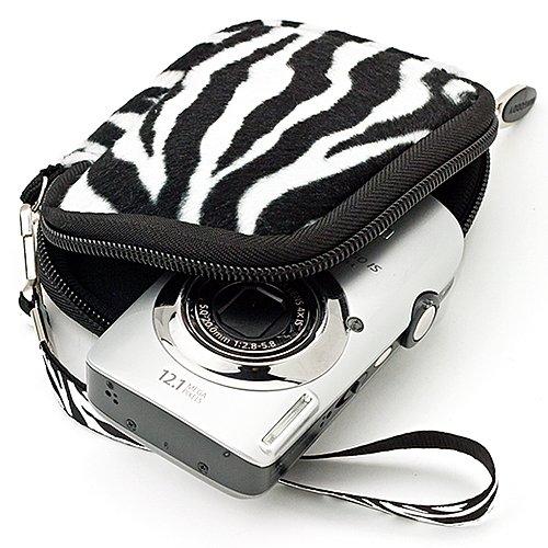 VG Vangoddy Digitalkamera-Schutzhülle für Canon, Fuji, Sony, Panasonic, Samsung, Nikon, Pentax, Lumix, Kodak, Olympus und alle anderen Digitalkameras, Innemaße: 10,8 x 6,5 x 2 cm, verschiedene Farben Black-white Zebera
