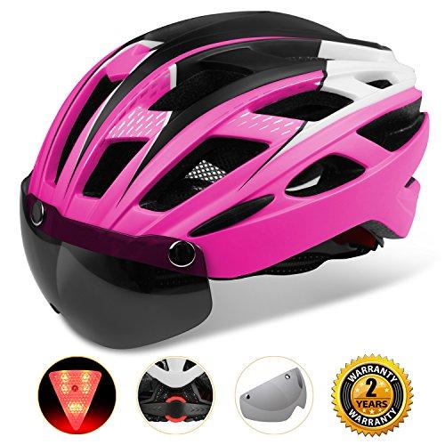 Kinglead Casco ciclo con visiera scudo, casco bici unisex protetto per guida sportiva da corsa all'aperto Superlight Rosa rosso nero bianco