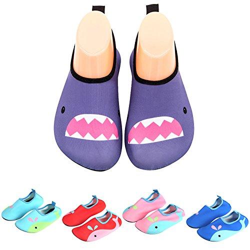 katliu Badeschuhe Wasserschuhe Strandschuhe Mädchen Jungen Schwimmschuhe Barfußschuhe Surfschuhe Kinder Baby Aqua Schuhe,Violett 33
