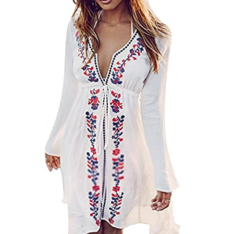 Imixcity Women's Sexy V-Neck Floral Embroidery Beach Dress Bikini Swimwear Cover Up White Blouse (One Size,