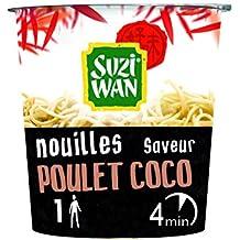 SUZI WAN Nouilles instantannées en pot - Cup Noodle - Poulet coco 62g - prêtes en 4 min - Pack de 8 unités