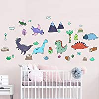Funny Cute Colorful Dinosaur Dino Peel and Stick Wall Decals for Kids Boys Girls Baby Nursery Bedroom Bathroom Playroom Decor