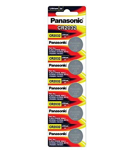 Panasonic CR2032 3 V Lithium Batterie 2 Packungen x (5 Stück) = 10 Einwegbatterien Panasonic Cr2032 3v Batterie