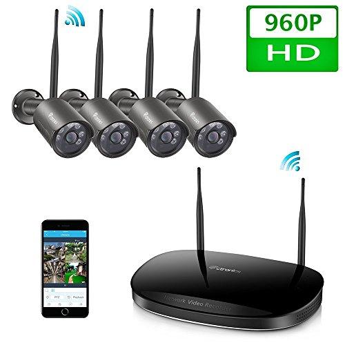 Ctronics drahtloses Überwachungskamera-Set 2.4G HD NVR System. WiFi inklusive 4 Stück drahtlosen wasserfesten 960p Kameras mit Nachtsicht-Funktion für die Montage im Freien(4CH NO HDD)