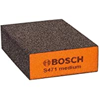 Bosch Professional S471 medium Esponja abrasiva para superficies y bordes, Gris/Naranja, Medio