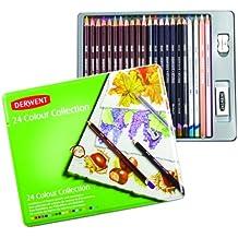 Derwent Colour - Set de 24 lápices de color, goma de borrar y sacapuntas