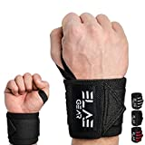 ELAE Professionelle Handgelenkbandage [2er Set] 70 cm Länge - Wrist Wraps für Kraftsport, Bodybuilding, Powerlifting, Gewichtheben und Fitness - One Size für Frauen und Männer Schwarz
