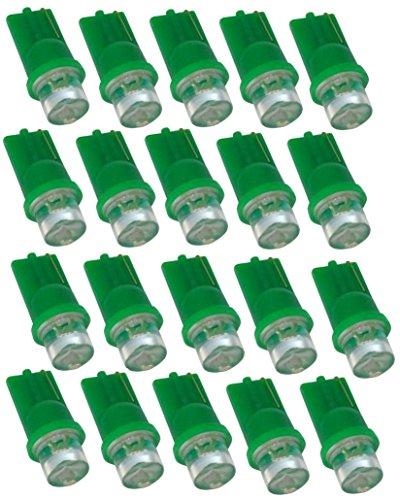 Aerzetix - Lot de 20 ampoules T10 W5W 12V à LED lumière verte - C1863
