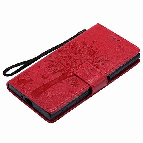 Custodia Sony Xperia XZ Cover Case, Ougger Fortunato Foglia Stampa Portafoglio PU Pelle Magnetico Stand Morbido Silicone Flip Bumper Protettivo Gomma Shell Borsa Custodie con Slot per Schede (Rosso) Rosso