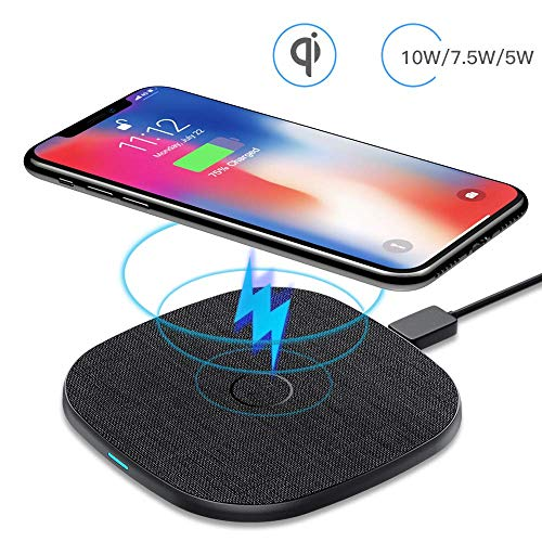 AGPTEK Caricatore Wireless Caricabatterie Wireless 10W/7.5W/5W per Samsung S20/11/10/9/9+/9+/8/7Edge /Note8/9/10/10+ iPhone 8/8Plus/X/XS/XR/11/11Pro Huawei Mate 20 Pro/P30 PRO/Mate 30/Mate 30Pro